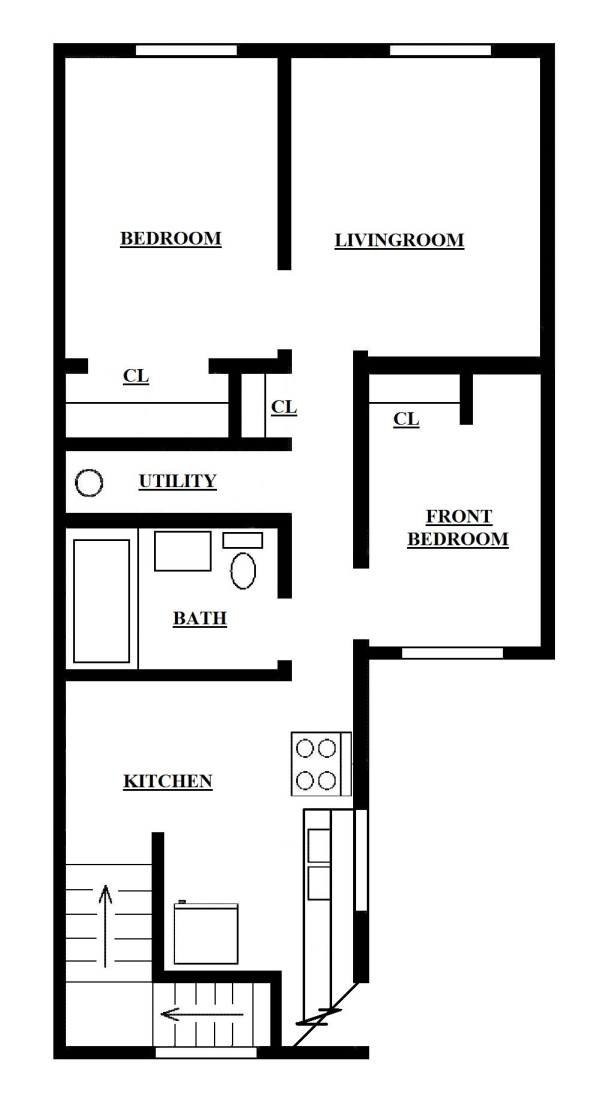 Two bedroom apartment upper for Home design 650 sq ft